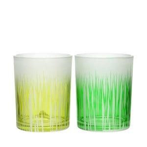 Zestaw 2 świeczników Grass Glass, 10x13 cm