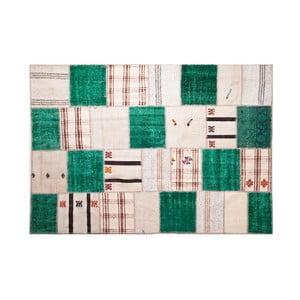 Dywan wełniany Allmode Green Kilim, 150x80 cm