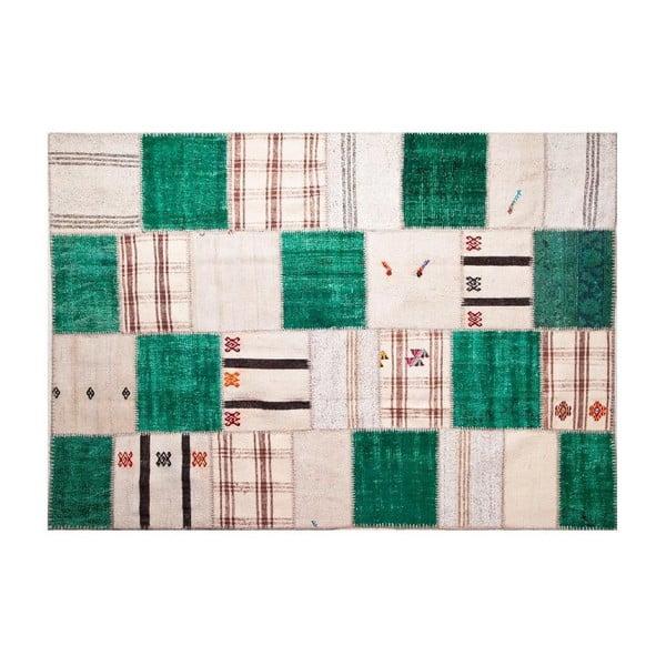 Dywan wełniany Allmode Green Kilim, 200x140 cm