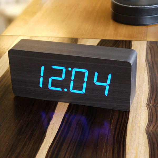 Czarny budzik z niebieskim wyświetlaczem LED Gingko Slab Click Clock