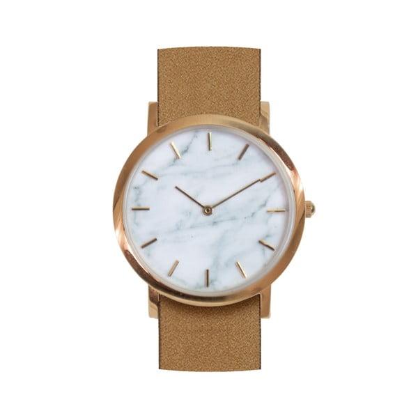 Biały marmurkowy zegarek z brązowym paskiem Analog Watch Co. Classic