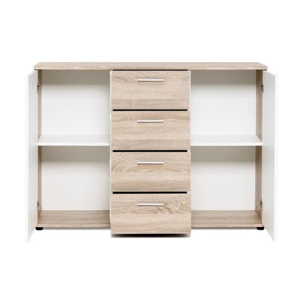 Biała 2-drzwiowa komoda z 4 szufladami i elementami z dekorem drewna Intertrade Jacky