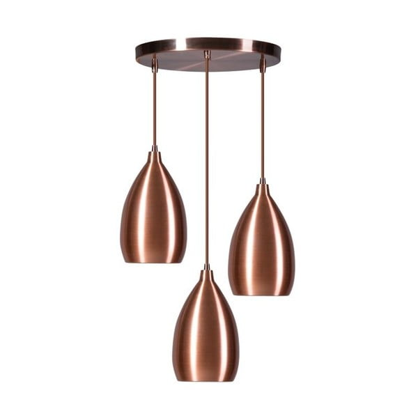 Miedziana potrójna lampa wisząca ETH Ajaccio Lewis