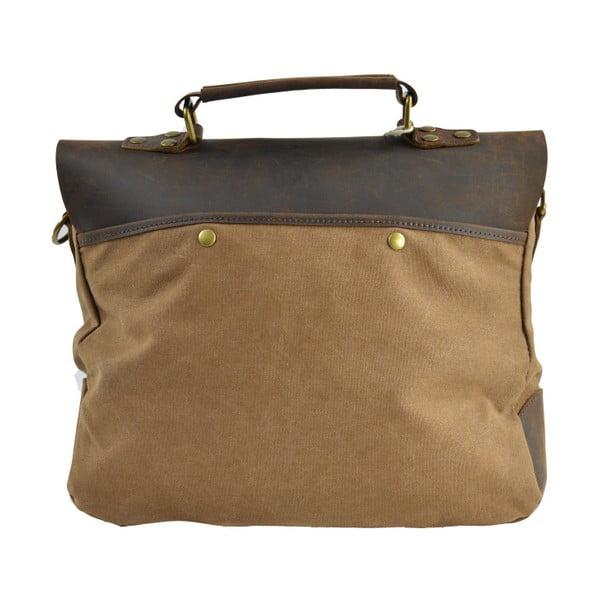 Brązowo-szara skórzana torba Briefcase