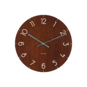 Ciemnobrązowy zegar Present Time Glass Wood, ⌀ 40 cm