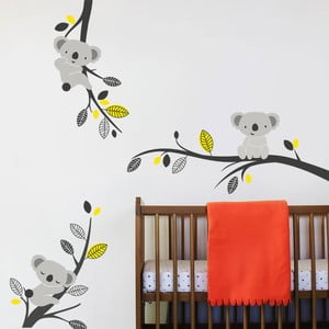 Naklejka ścienna Koale i gałęzie, żółta, 2 arkusze, 70x50 cm