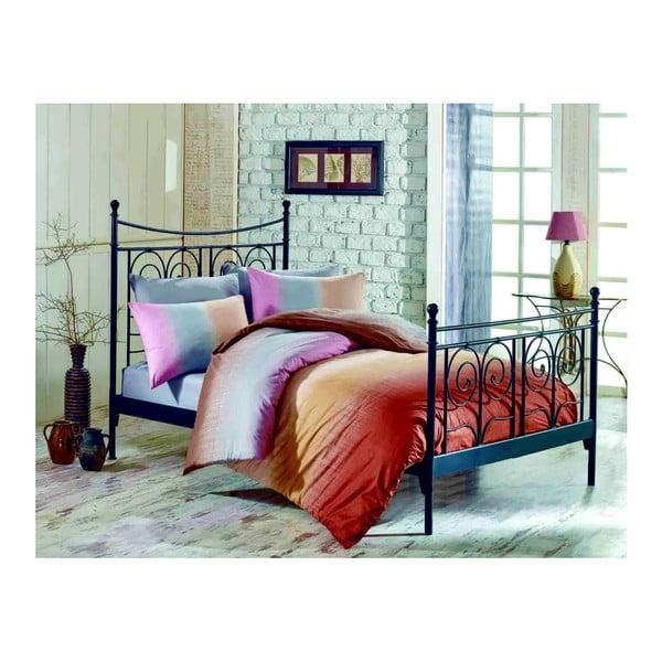 Dwuosobowa pościel bawełniana z prześcieradłem i 2 poszewkami na poduszkę Colorful Crema, 200x220 cm