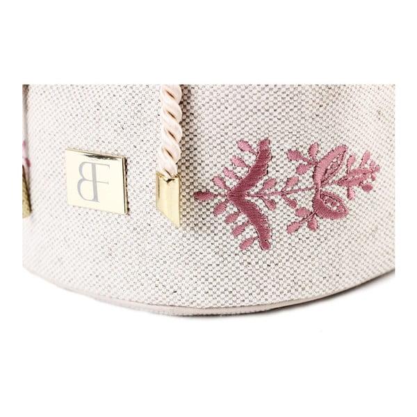 Torebka z różowym haftem, kremowa
