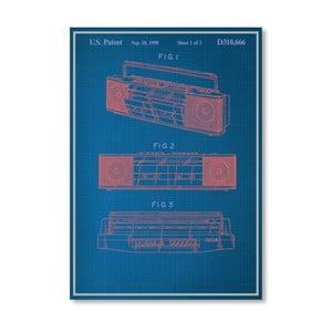 Plakat Vintage Boombox, 30x42 cm