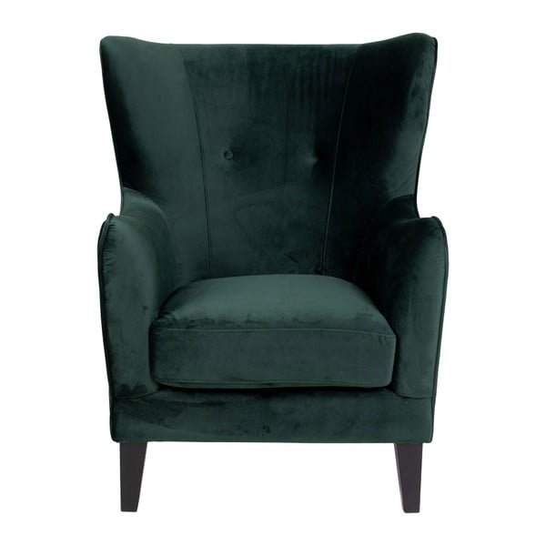 Zielony fotel pokryty aksamitem House Nordic Campo