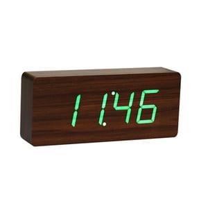 Orzechowy budzik z zielonym wyświetlaczem LED Gingko Slab Click Clock
