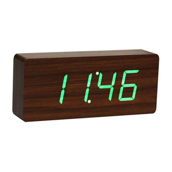 Ciemnobrązowy budzik z zielonym wyświetlaczem LED Gingko Slab Click Clock