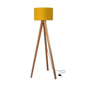 Lampa stojąca Tripod Yellow/Walnut