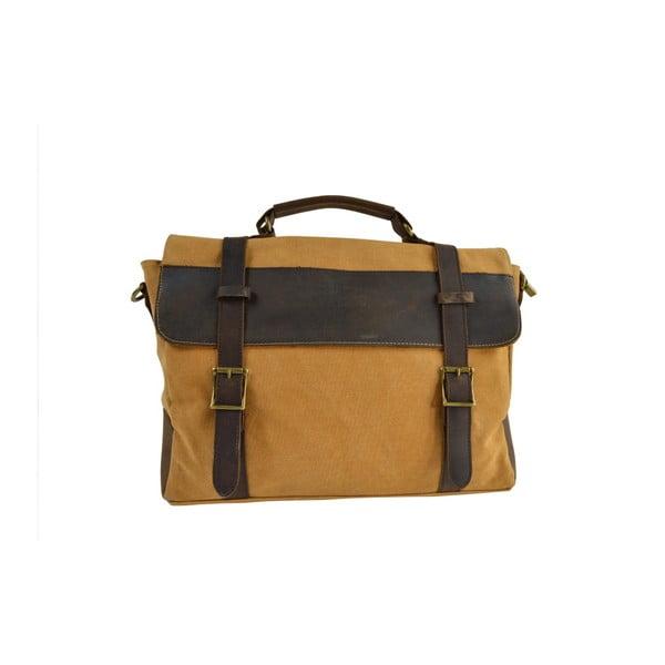Musztardowa torba skórzana Briefcase