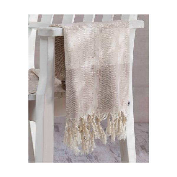 Beżowy ręcznik Hammam Baliksirti , 100x180cm