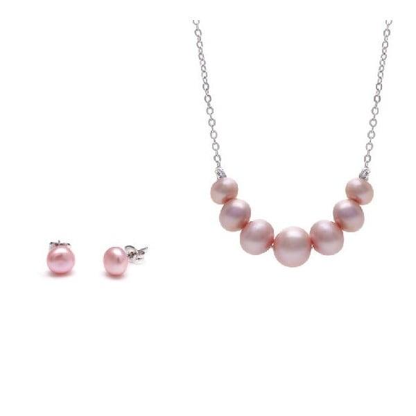 Komplet naszyjnika i kolczyków z pereł słodkowodnych Chain, różowy