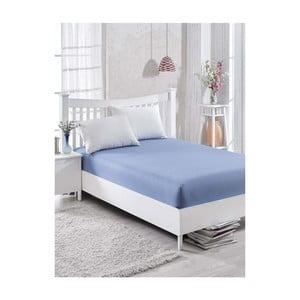 Niebieskie bawełniane prześcieradło Simplicity, 160x200