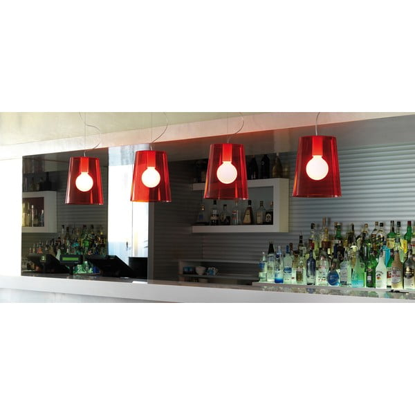 Lampa sufitowa Pedrali L001S/A, czerwona półprzeźroczysta