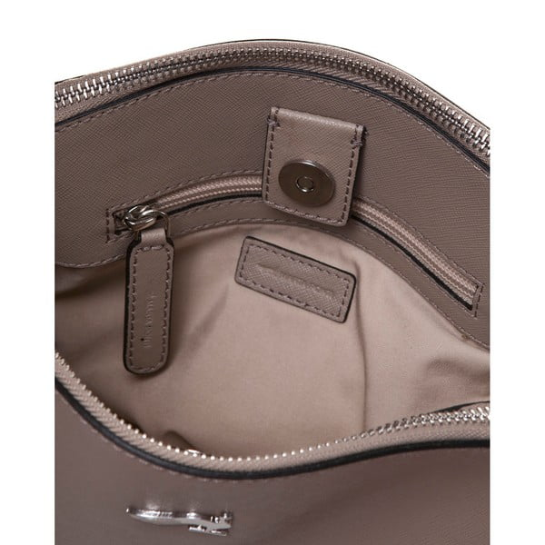 Skórzana torebka na długim pasku Marta Ponti Met, piaskowa