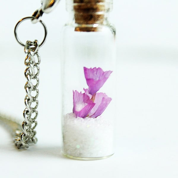 Naszyjnik Wish Bottle and Silver Flowers