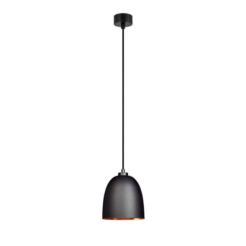 Czarna matowa lampa wisząca z wnętrzem w miedzianej barwie Sotto Luce Awa