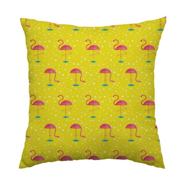 Poduszka Yellow Flamingo, 40x40 cm