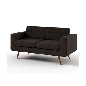 Sofa dwuosobowa York Lino, ciemnobrązowa