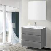 Szafka do łazienki z umywalką i lustrem Nayade, odcień szarości, 80 cm
