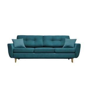 Turkusowa sofa rozkładana z jasnymi nogami Mazzini Sofas Rose