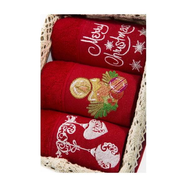 Zestaw 3 ręczników Xmas V9, 30x50 cm