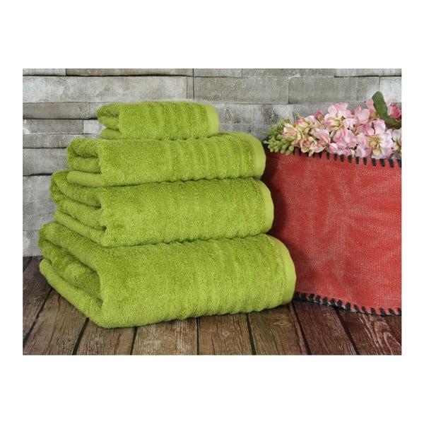 Limonkowy ręcznik Irya Home Wellas Bamboo, 30x50 cm