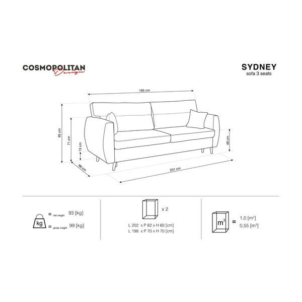 Beżowa 3-osobowa sofa rozkładana ze schowkiem Cosmopolitan design Sydney, 231x98x95 cm