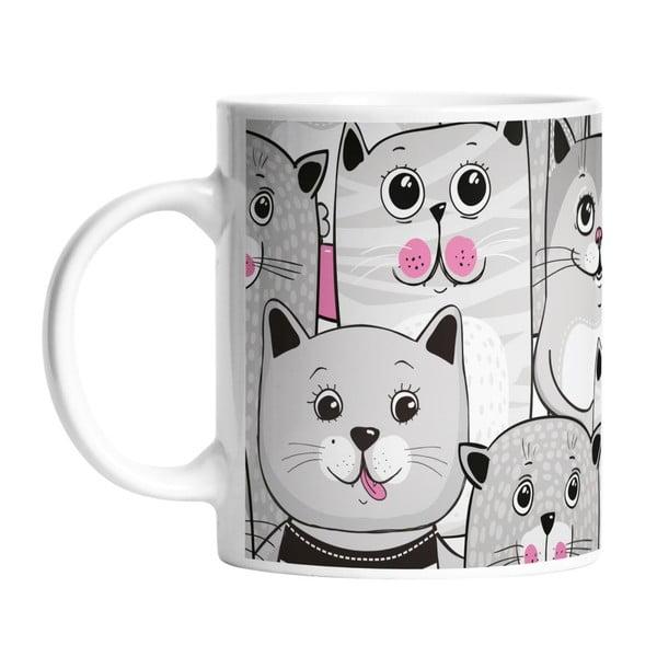 Ceramiczny kubek Grey Kitties, 330 ml