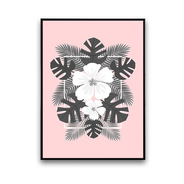 Plakat z białymi kwiatami, różowe tło, 30 x 40 cm