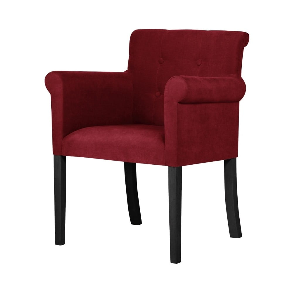 Czerwone krzesło z czarnymi nogami Ted Lapidus Maison Flacon