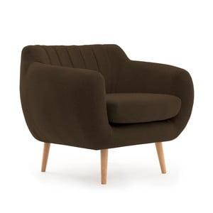 Ciemnobrązowy fotel z naturalnymi nogami VIVONITA Kennet