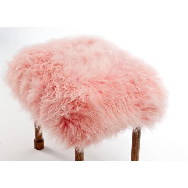 Podnóżek z owczej skóry Myfanwy Baby Pink