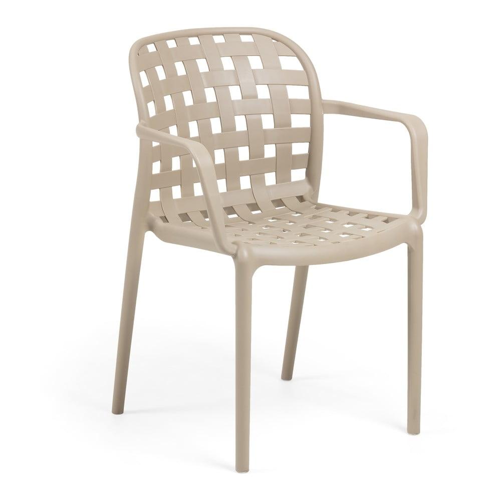 Beżowy fotel ogrodowy ze stalowymi nogami La Forma Onha