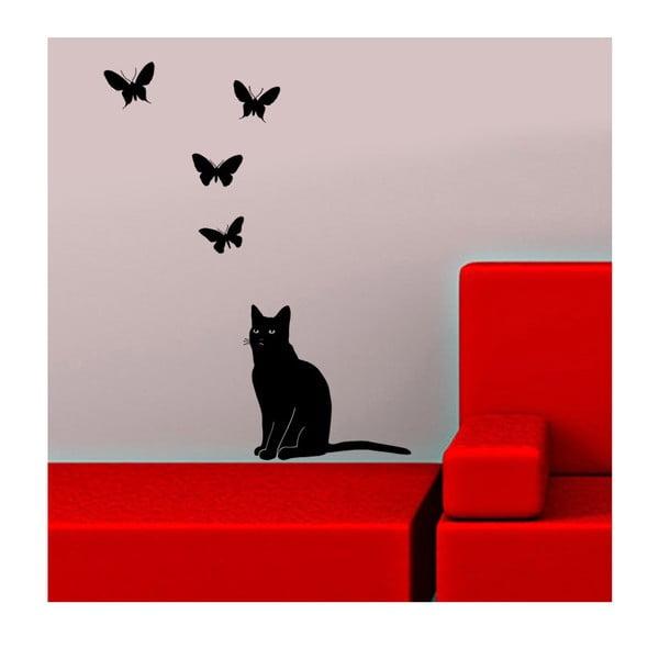 Naklejka winylowa naścienna Kot i Motyl