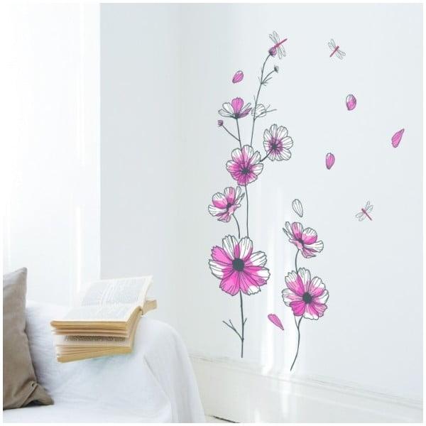 Naklejka Flowers and Dragonfly