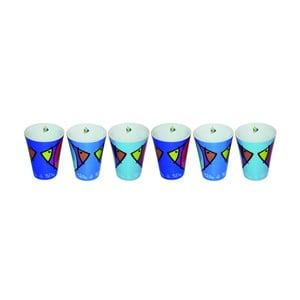 Komplet 6 kubków na expresso  Bleu Poisson, 100 ml