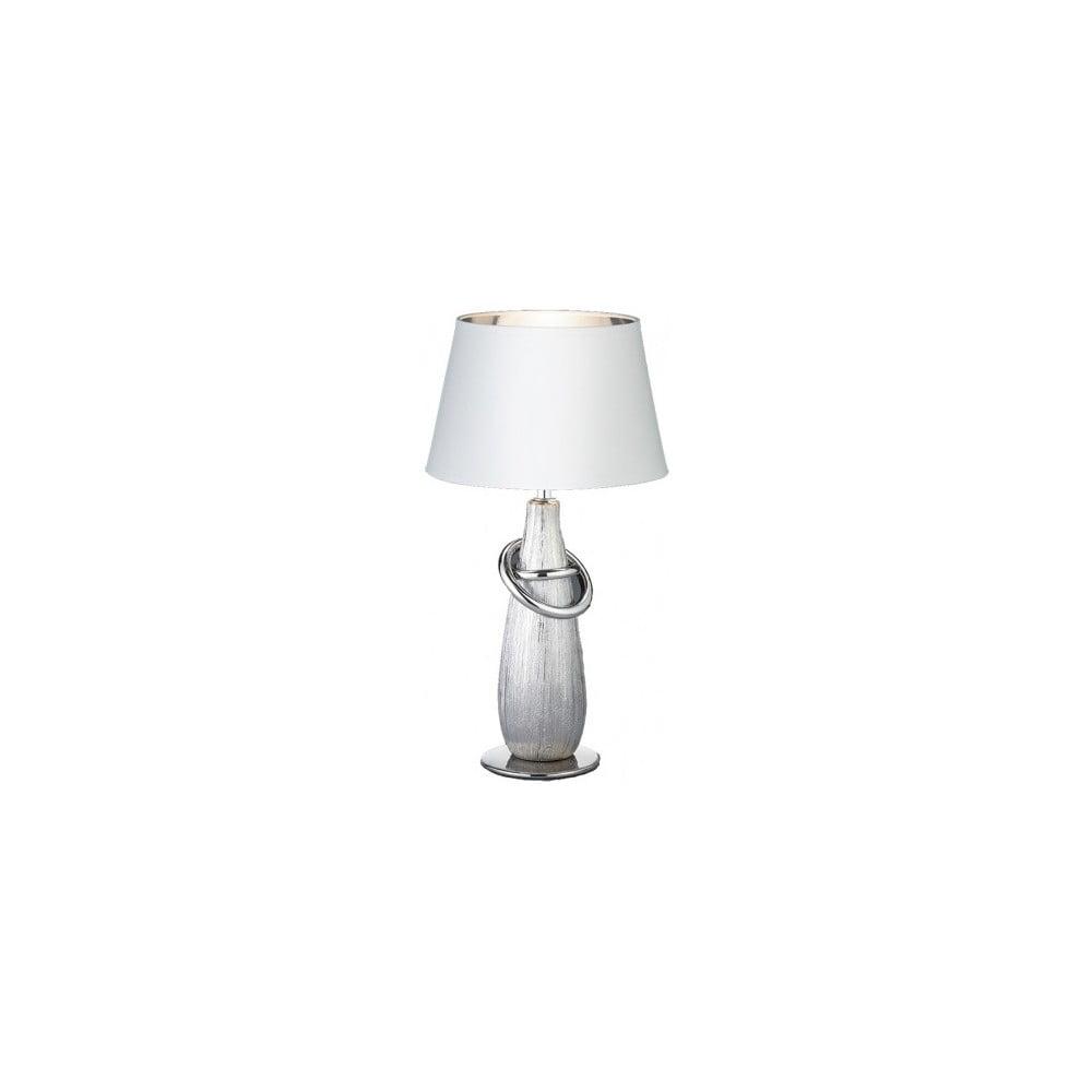 Biała lampa stołowa z ceramiki i tkaniny Trio Thebes, wys. 38 cm