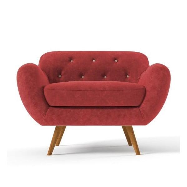 Czerwony   fotel z jasnobeżowymi guzikami Wintech Zefir Sun
