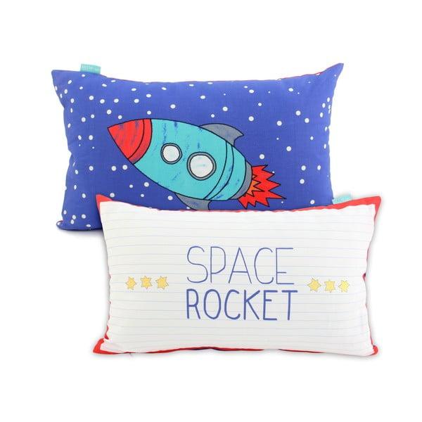 Dwustronna poszewka bawełniana na poduszkę Mr. Fox Space Rocket, 50x30cm
