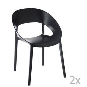 Zestaw 2 czarnych krzeseł J-Line Lola