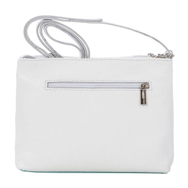 Skórzana torebka Francesco, biało-niebieska