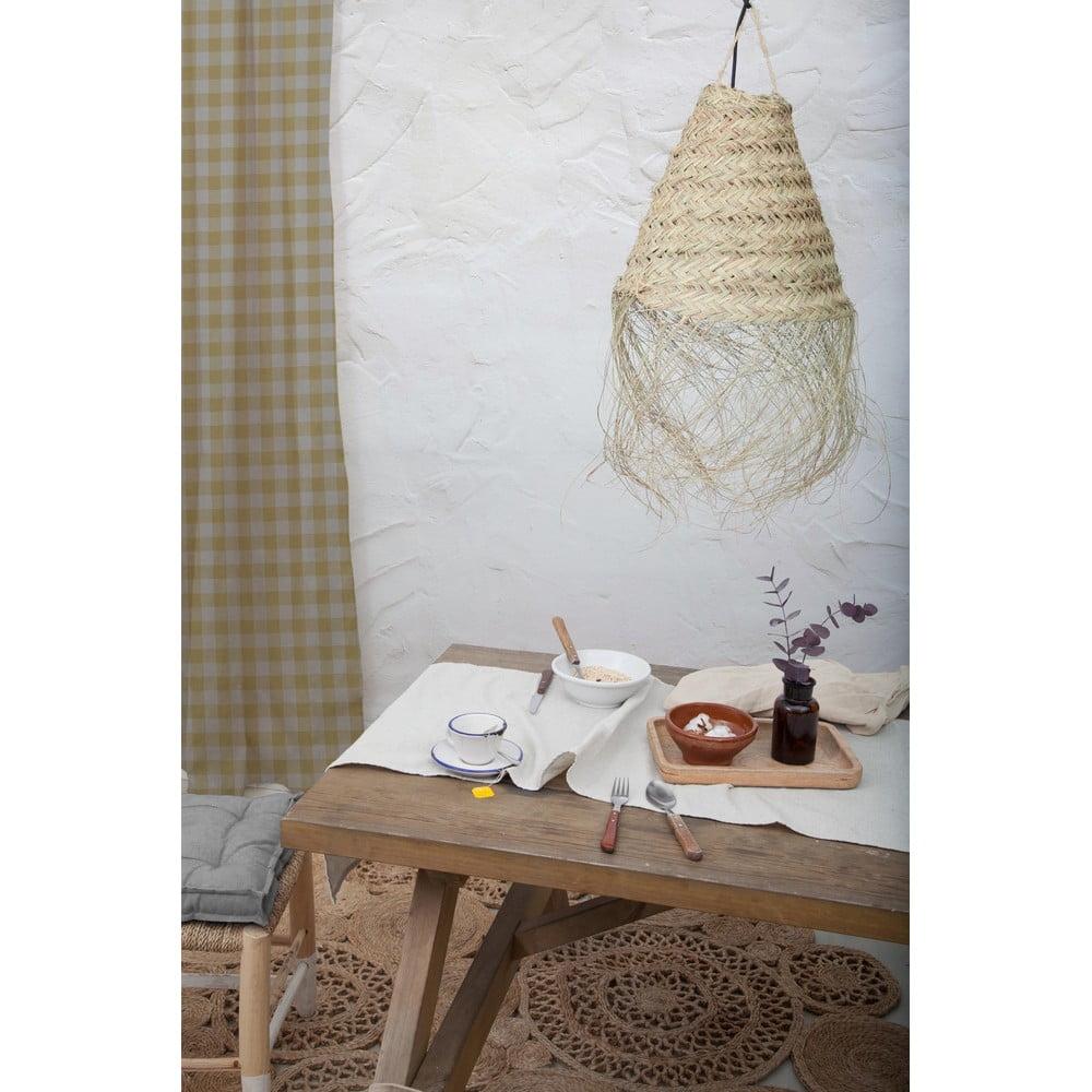 Beżowa zasłona Linen Cuture Cortina Hogar Beige Vichy