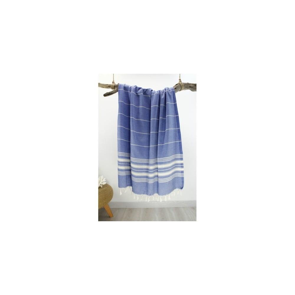Hammam Style: Niebieski Ręcznik Bawełniany Hammam Yenge Style, 90x180 Cm