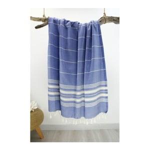 Niebieski ręcznik bawełniany Hammam Yenge Style, 90x180 cm