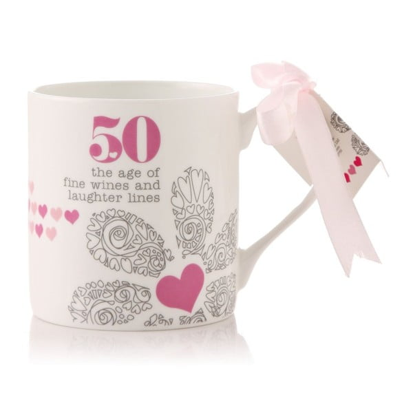 Porcelanowy kubek 50 the age of fine wines and laughter lines